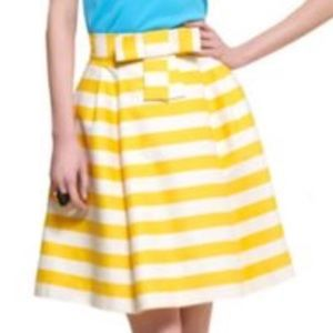Kate Spade silk yellow & white stripe bow skirt